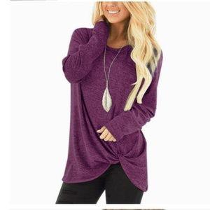 Twist Pullover Sweater- Plum